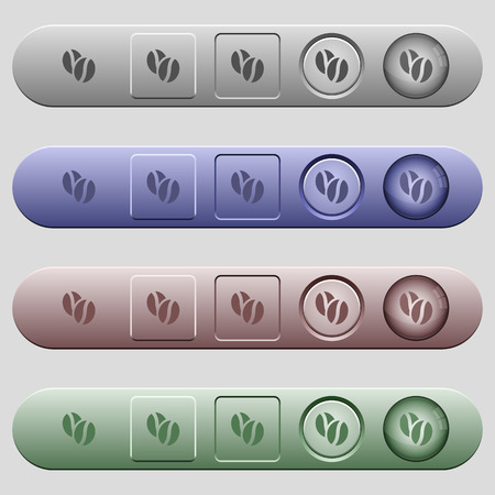 coffe beans: Coffe beans icons on rounded horizontal menu bars in different colors and button styles