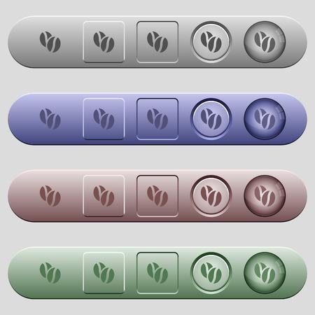 Pictogrammen voor koffiebonen op afgeronde horizontale menubalken in verschillende kleuren en knopstijlen