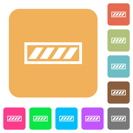 Progress bar flat icons on rounded square vivid color backgrounds.