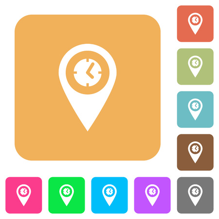 Location arrival time flat icons on rounded square vivid color backgrounds.