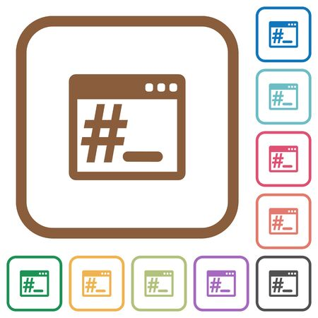 square root: OS root terminal simple icons in color rounded square frames on white background