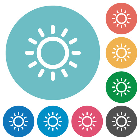 luminary: Brightness control flat white icons on round color backgrounds Illustration