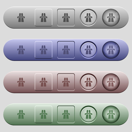 Highway icons on rounded horizontal menu bars in different colors and button styles Illustration