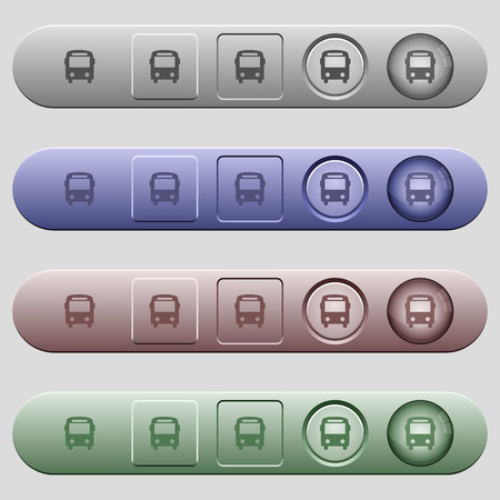 Bus icons on rounded horizontal menu bars in different colors and button styles