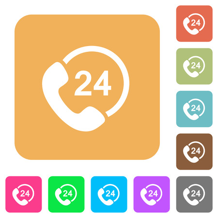 One day service flat icons on rounded square vivid color backgrounds. Illustration