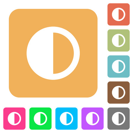 contradictory: Contrast control flat icons on rounded square vivid color backgrounds. Illustration
