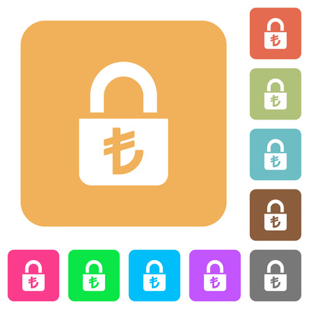inaccessible: Locked lira flat icons on rounded square vivid color backgrounds. Illustration