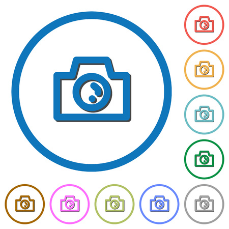 screenshot: Camera flat color vector icons with shadows in round outlines on white background Illustration