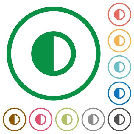conflicting: Contrast control flat color icons in round outlines on white background