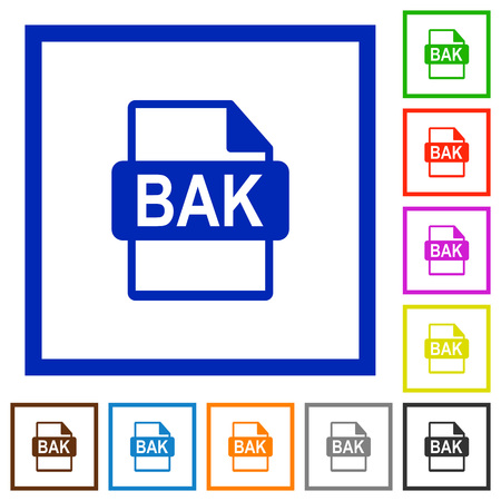 datasets: BAK file format flat color icons in square frames on white background
