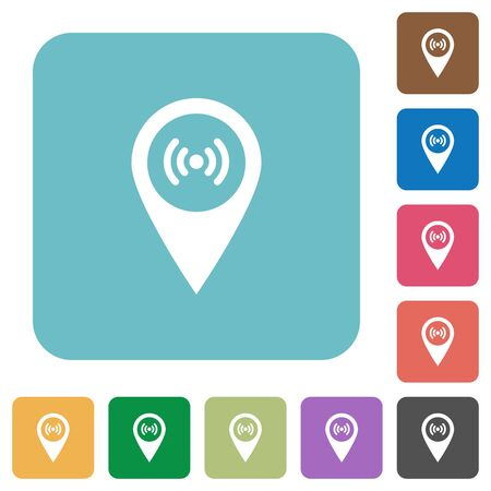 hotspot: Free wifi hotspot GPS map location white flat icons on color rounded square backgrounds Illustration