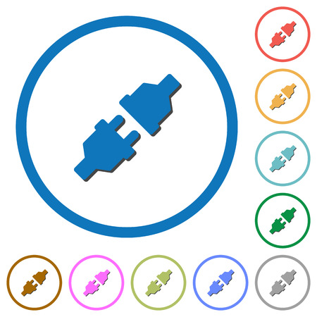Unplugged power connectors flat color vector icons with shadows in round outlines on white background Illustration