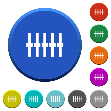 Graphical equalizer round color beveled buttons with smooth surfaces and flat white icons Illustration