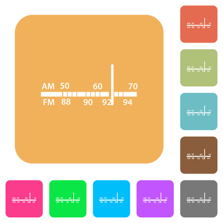 Radio tuner flat icons on rounded square vivid color backgrounds.