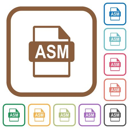 ASM file format simple icons in color rounded square frames on white background