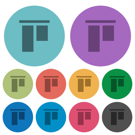 Align to top darker flat icons on color round background Illustration