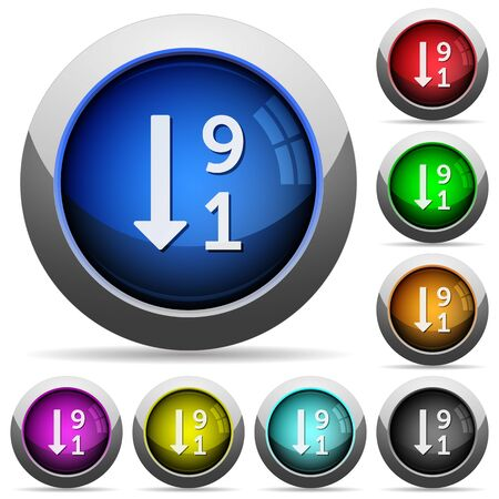 descending: Descending numbered list icons in round glossy buttons with steel frames Illustration