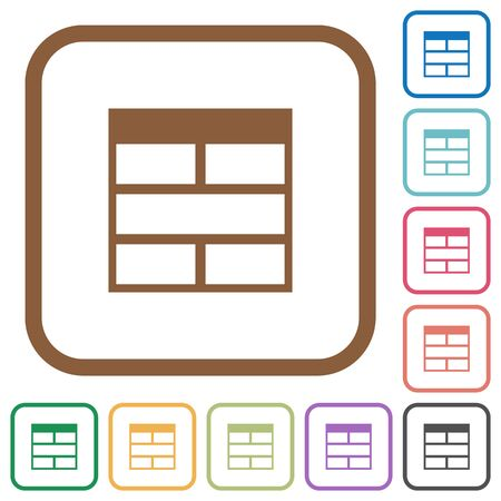 horizontally: Spreadsheet horizontally merge table cells simple icons in color rounded square frames on white background