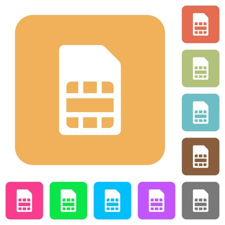 SIM card flat icons on rounded square vivid color backgrounds.