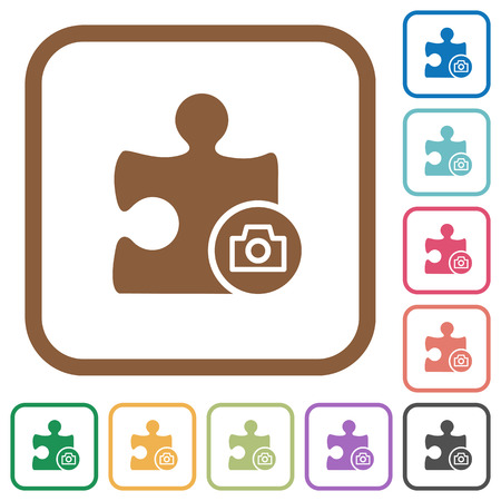 plugin: Camera plugin simple icons in color rounded square frames on white background