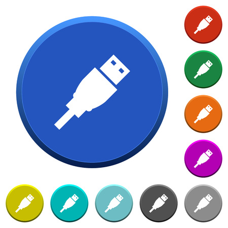 USB plug round color beveled buttons with smooth surfaces and flat white icons Illustration