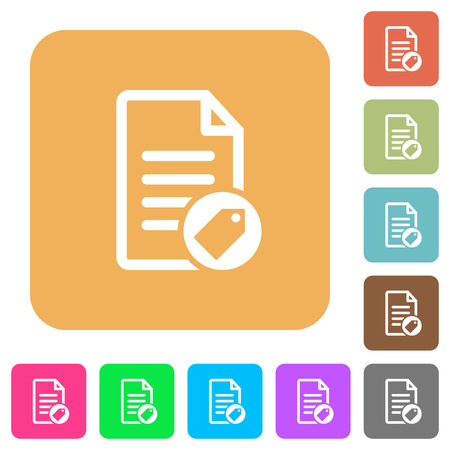 Tagging document flat icons on rounded square vivid color backgrounds. Illustration