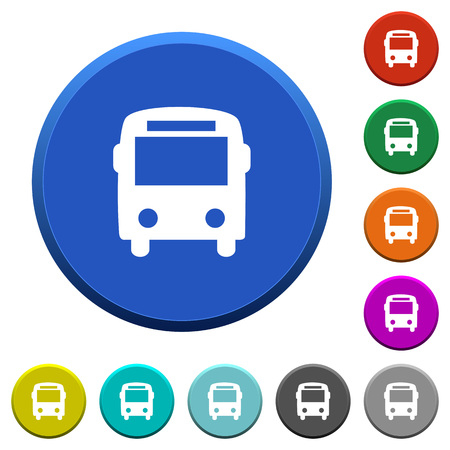 omnibus: Bus round color beveled buttons with smooth surfaces and flat white icons Illustration