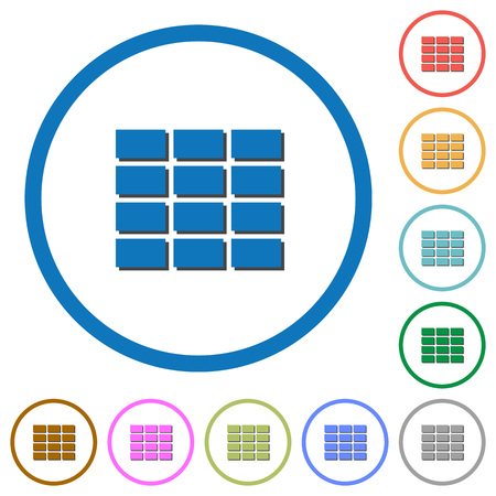 formatting: Spreadsheet flat color vector icons with shadows in round outlines on white background