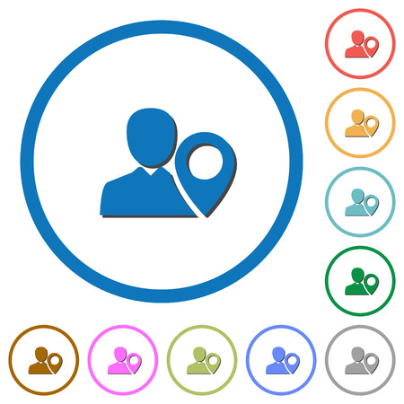 User location flat color vector icons with shadows in round outlines on white background