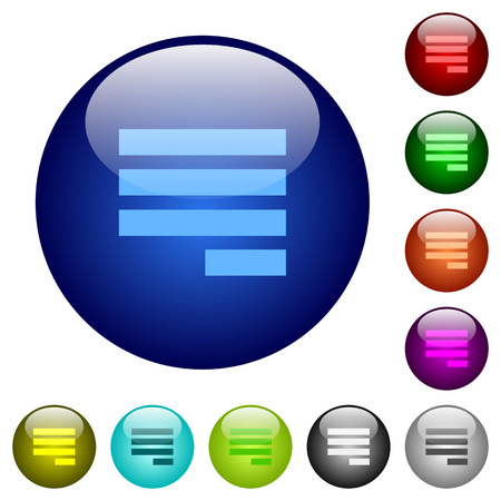 Text align justify last row right icons on round color glass buttons Illustration