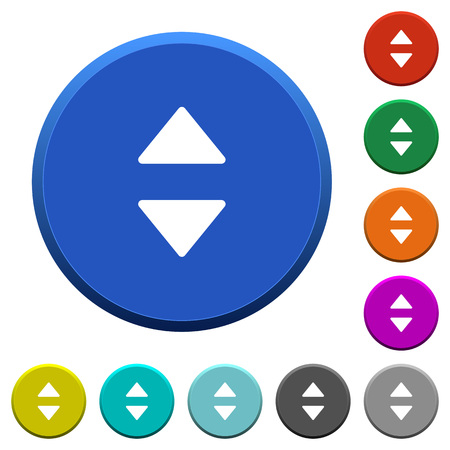 Vertical control arrows round color beveled buttons with smooth surfaces and flat white icons