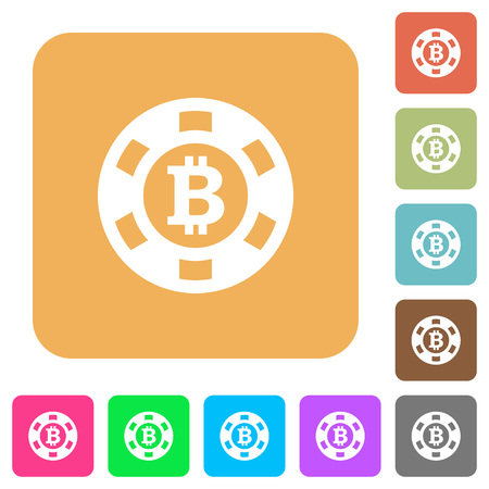 roulette layout: Bitcoin casino chip flat icons on rounded square vivid color backgrounds.