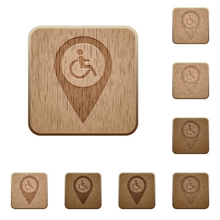 limitations: Disability accessibility GPS map location on rounded square carved wooden button styles