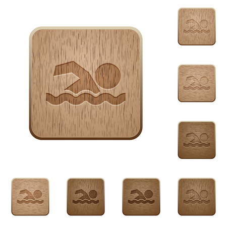 watery: Swimming man on rounded square carved wooden button styles
