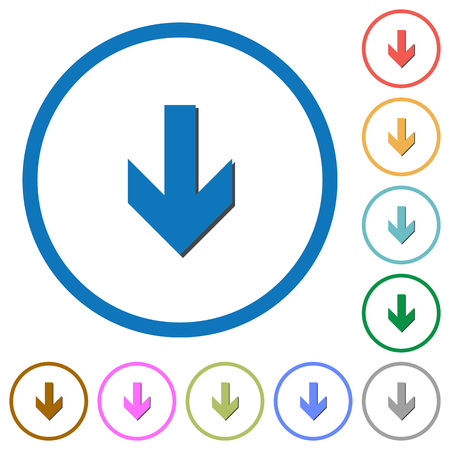 Down arrow flat color vector icons with shadows in round outlines on white background