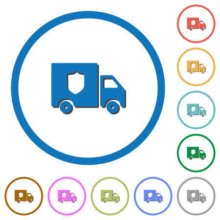 Money deliverer truck flat color vector icons with shadows in round outlines on white background Illustration