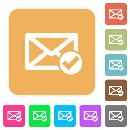 Mail read flat icons on rounded square vivid color backgrounds. Illustration