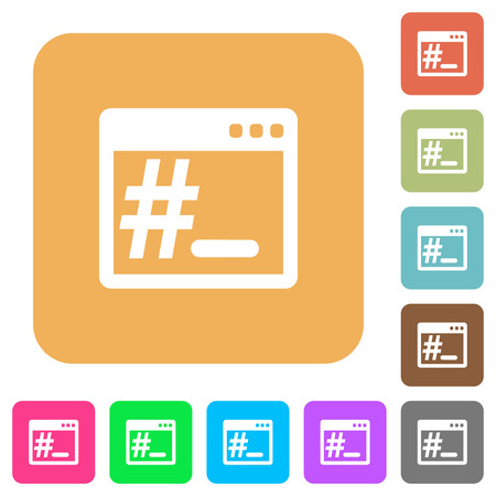 Linux root terminal flat icons on rounded square vivid color backgrounds.