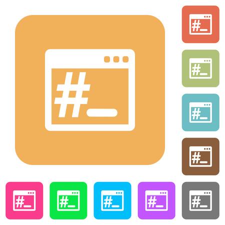 Linux root terminal vlakke pictogrammen op afgeronde vierkante levendige kleurenachtergronden.