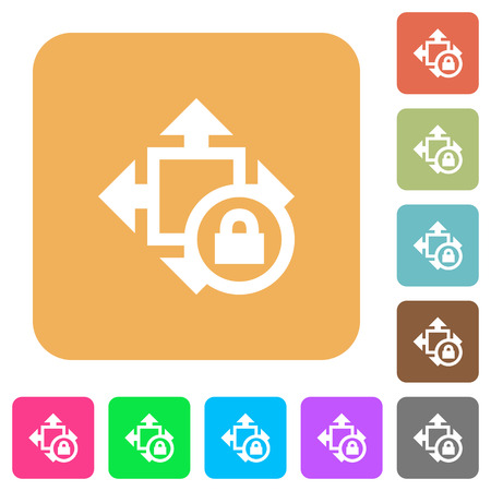 Size lock flat icons on rounded square vivid color backgrounds. Illustration