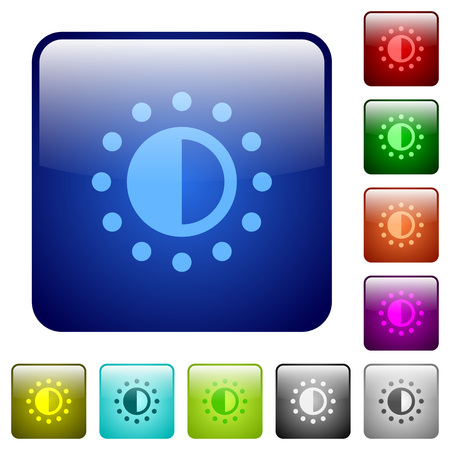 piebald: Saturation control icons in rounded square color glossy button set