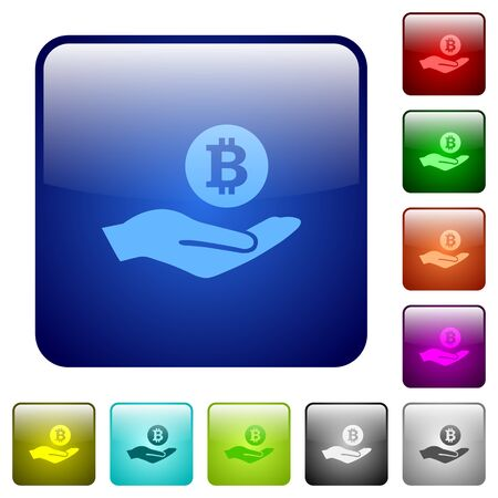 ganancias: Bitcoin earnings icons in rounded square color glossy button set