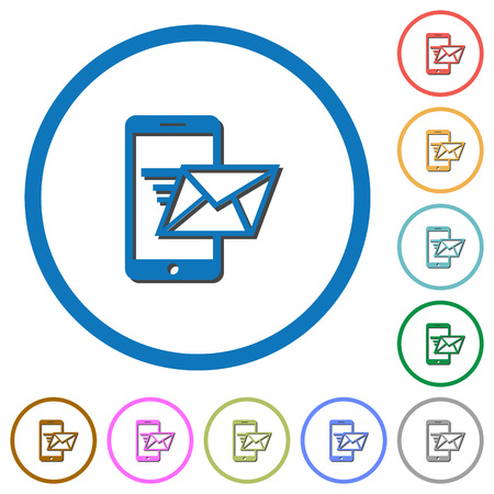 sending: Sending email from mobile phone flat color vector icons with shadows in round outlines on white background