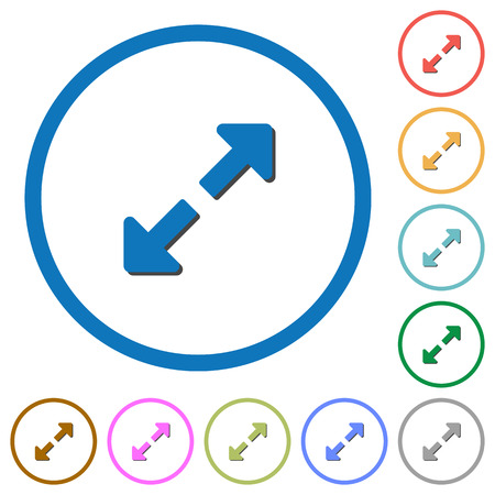 fullscreen: Resize full flat color vector icons with shadows in round outlines on white background Illustration