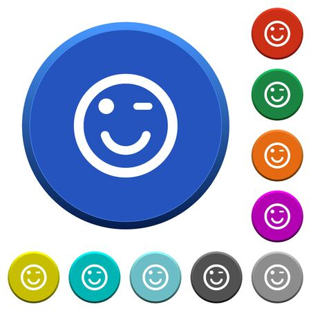 joking: Winking emoticon round color beveled buttons with smooth surfaces and flat white icons