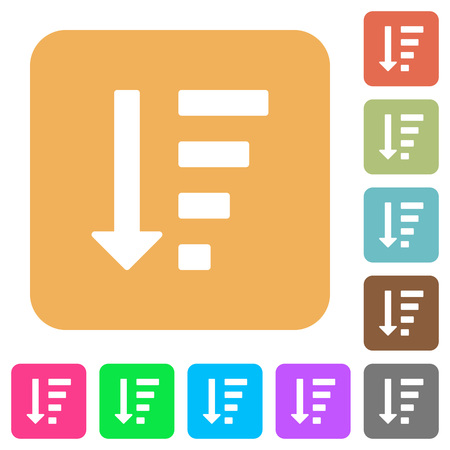 listing: Descending ordered list mode flat icons on rounded square vivid color backgrounds. Illustration