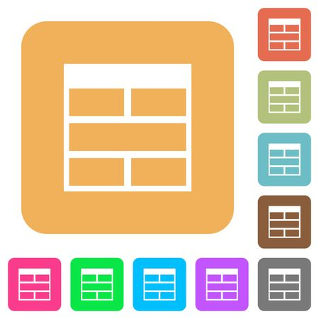horizontally: Spreadsheet horizontally merge table cells flat icons on rounded square vivid color backgrounds. Illustration