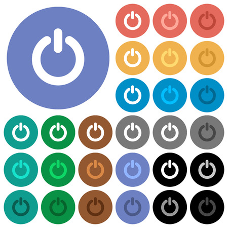 poweron: Power switch multi colored flat icons on round backgrounds. Included white, light and dark icon variations for hover and active status effects, and bonus shades on black backgounds.