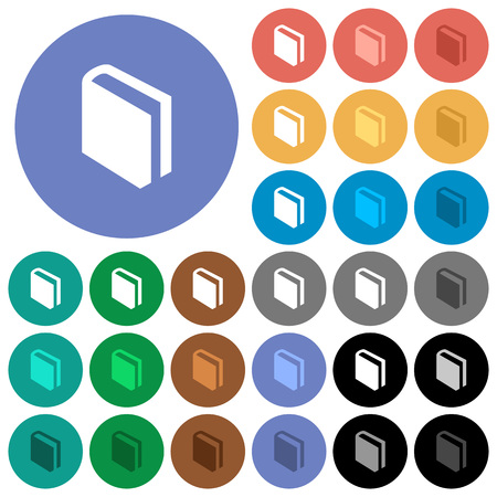 Single book multi colored flat icons on round backgrounds. Included white, light and dark icon variations for hover and active status effects, and bonus shades on black backgounds. Illustration