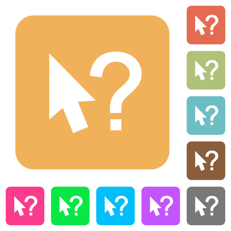 Help cursor push buttons flat icons on rounded square vivid color backgrounds. Illustration